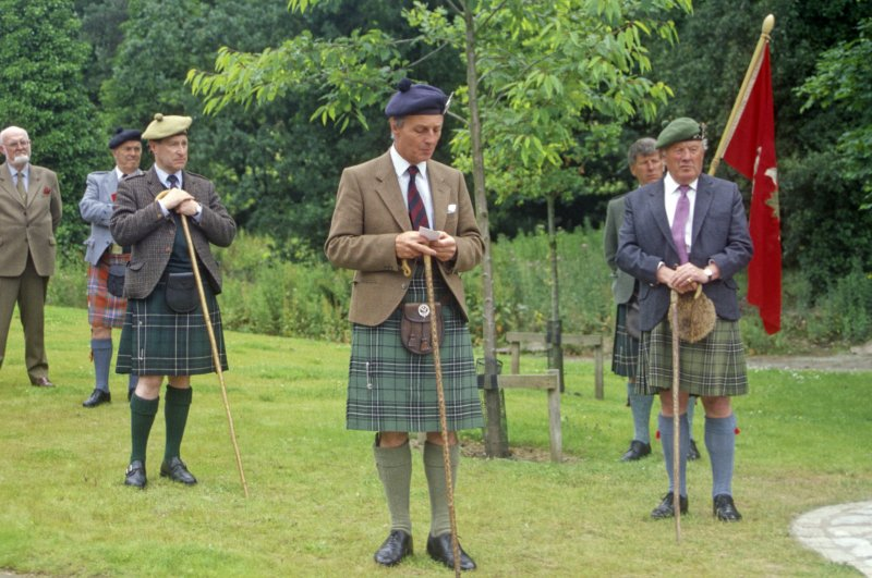 Sir Lachlan Maclean of Duart and Morvern (centre), flanked by clan dignitaries, opening a memorial to his clansmen who fell with the 11th Chief, Sir Hector at the battle of Inverkeithing on 20 July 1651, when a Royalist Highland army was defeated by Cromwell's forces in Scotland. The occasion was the 350th anniversary of the battle. (Colin Martin)