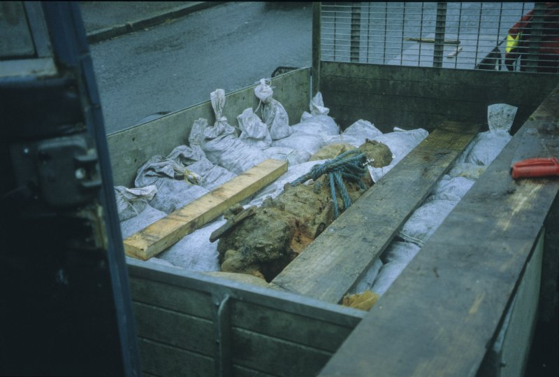 Gun 8 (DP00/203) bedded in sandbags in the back of a trailer for transport to the holding facility in Fife. (Paula Martin)