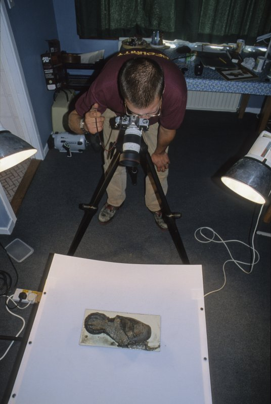 Edward Martin's finds photography set-up at the Lochaline base. (Colin Martin)