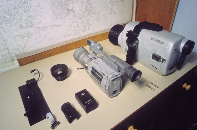 A video camera and underwater case set out for checking and assembly before use. (Colin Martin)