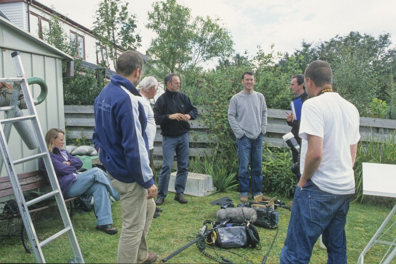 The crew and presenters of Channel 4's Wreck Detectives series during filming in the garden of the project's field base at Lochaline in 2003. (Edward Martin)