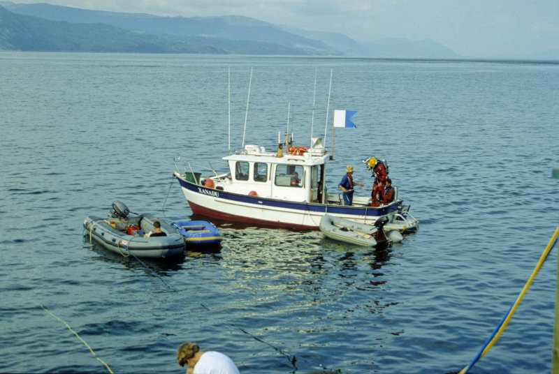 The Archaeological Diving Unit paid regular visits to the site during the excavation period between 1997 and 2003 in their research vessel Xanadu. (Colin Martin)