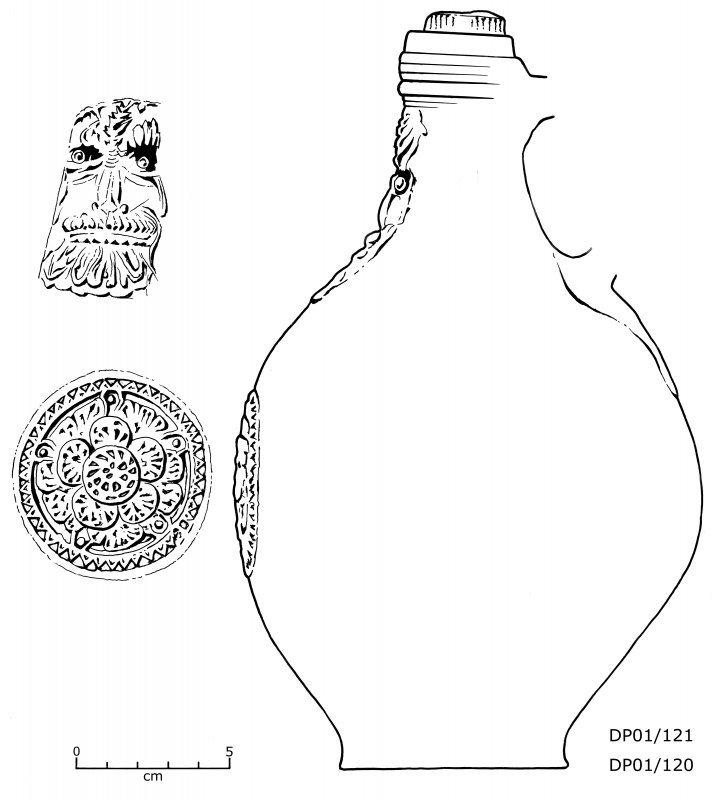 Frechen salt-glazed stoneware bottle (DP01/121, 120) with sprigged face-mask and escutcheon (Bartmann). In two pieces, and missing most of its handle. Scale 5 centimetres. (Colin Martin)