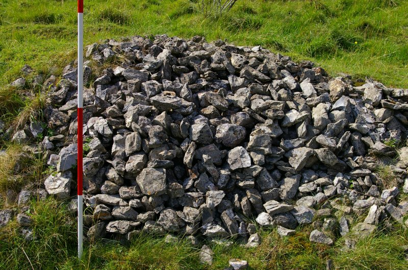 Pile of graded limestone adjacent to Kiln 2. Scale 2 metres. (Colin Martin)