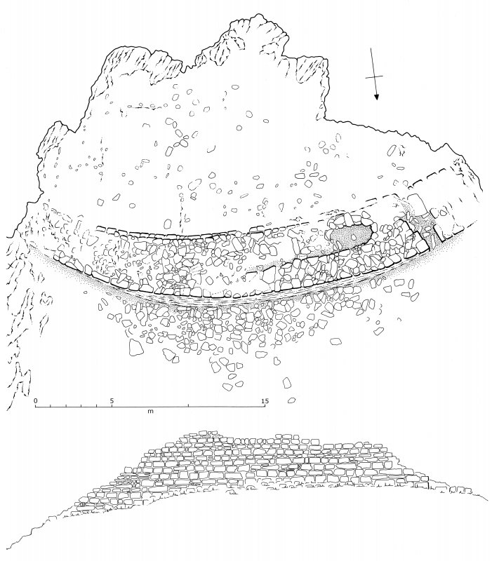Plan and N elevation of the headland fort at Rubh' an Dùnain. (Colin Martin)