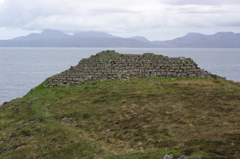 Headland fort, N face of wall, looking S towards Rum. (Colin Martin)