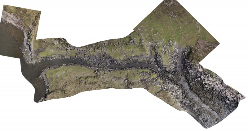 Rectified vertical photomosaic of the canal, quay, and nausts taken by aerial drone. (Edward Martin)