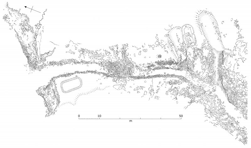 Interpretative survey drawing derived from the rectified vertical photomosaic of the canal, quay, and nausts. (Colin Martin)