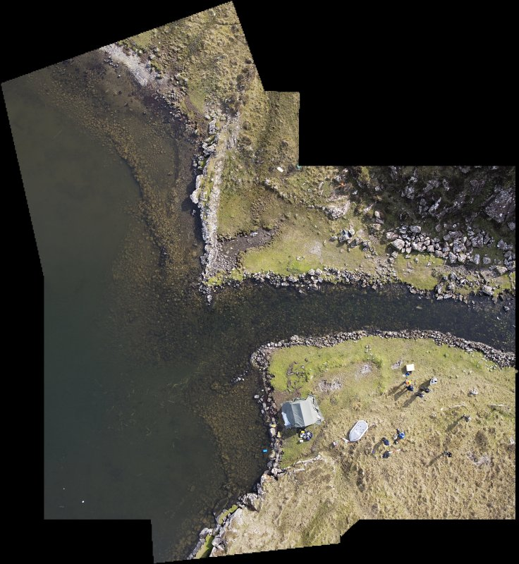 Rectified vertical mosaic taken by aerial drone of the stone-built quay features on either side of the canal entrance into Loch na h-Airde. (Edward Martin)