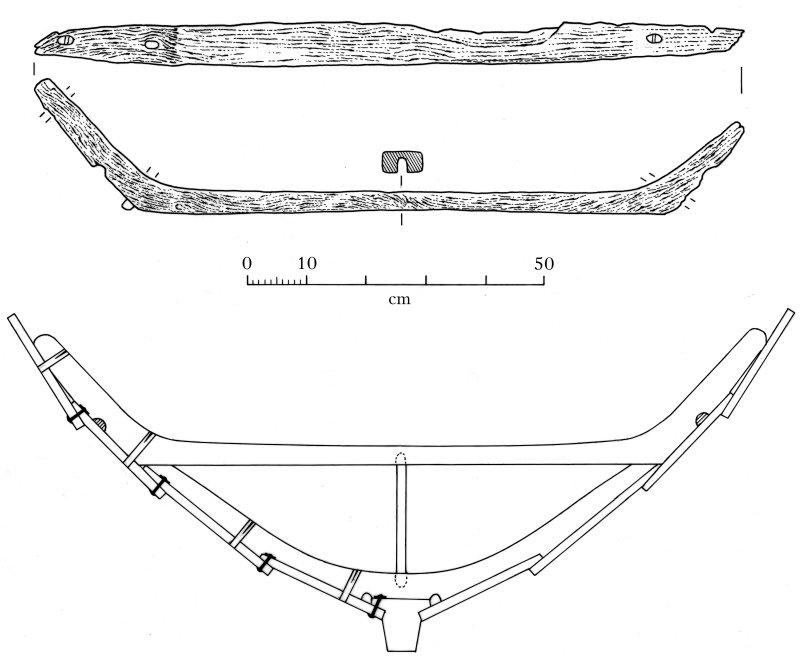 Top and side views of the bite found at the N end of the loch by Dr David Macfadyen in 2000. Below is a reconstruction of how it might have fitted into the midships section of a four-oared boat of the ...