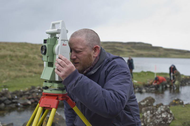 Dr Chris Burgess established a survey network with Total Station. (Edward Martin)