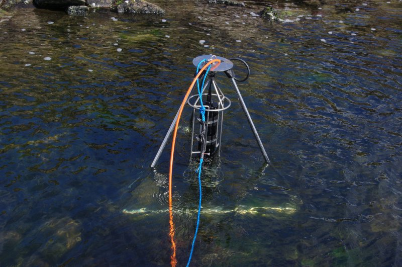 Trials have been made using sector scanning to search the loch bed for archaeological features. Here the equipment has been positioned near the canal mouth. Results so far have been encouraging, but a more sustained programme is required. (Colin Martin)