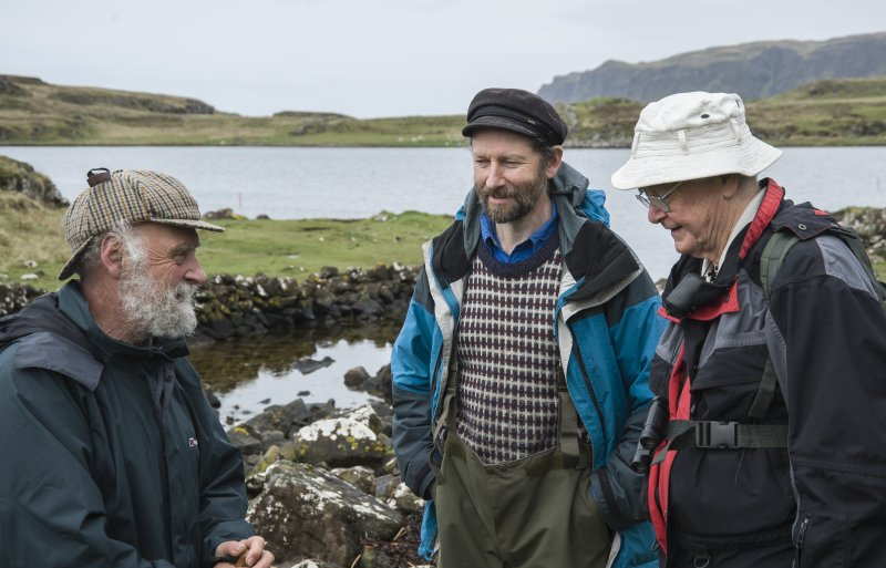 Dr Colin Martin (left), the Project Director, confers on site with Dr David Macfadyen (right), who found the 12th century boat timber in 2000.With them is Gavin Parsons of Sabhal Mor Ostaig, the Gaeli ...