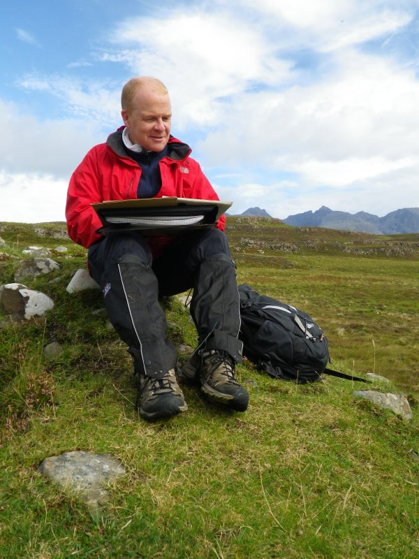 Philip Robertson of Historic Scotland takes a break from assessing Rubh' an Dùnain's archaeological and historical significance to Scotland and the wider world. (Paula Martin)