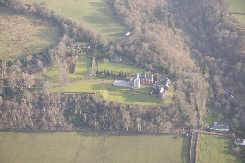 General oblique aerial view of Skelmorlie Castle, lookingt o the E.