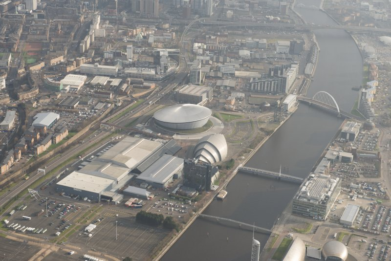 General oblique aerial view of The Hydro and Scottish Exhibition and Conference Centre, looking to the E.