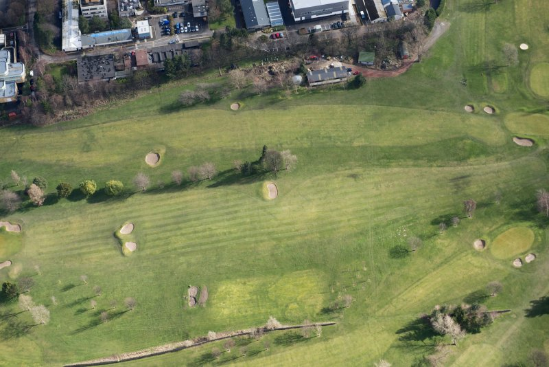 Oblique aerial view of the Craigmillar Park Golf Course and World War One trench system, looking SSE.