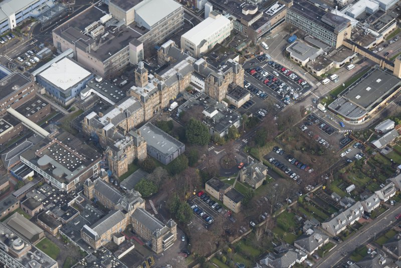 Oblique aerial view of the Western General Hospital, looking N.