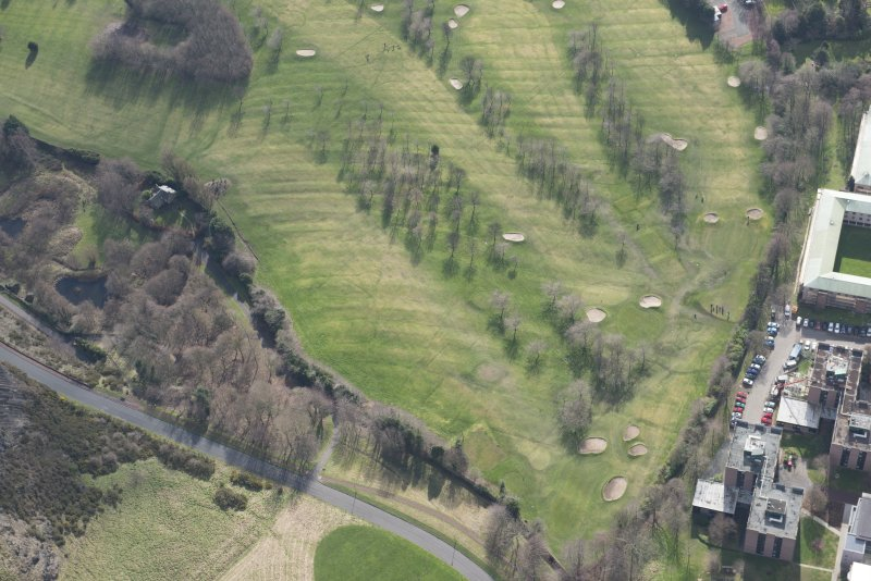 Oblique aerial view of the Prestonfield Golf Course and World War One trench system, looking S.