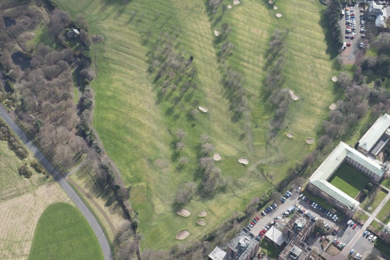 Oblique aerial view of the Prestonfield Golf Course and World War One trench system, looking SSE.