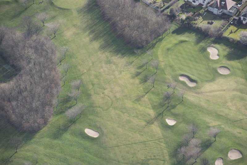 Oblique aerial view of the Prestonfield Golf Course and World War One trench system, looking SE.