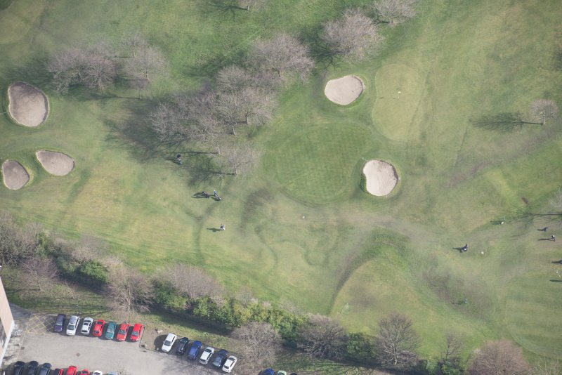 Oblique aerial view of the Prestonfield Golf Course and World War One trench system, looking E.