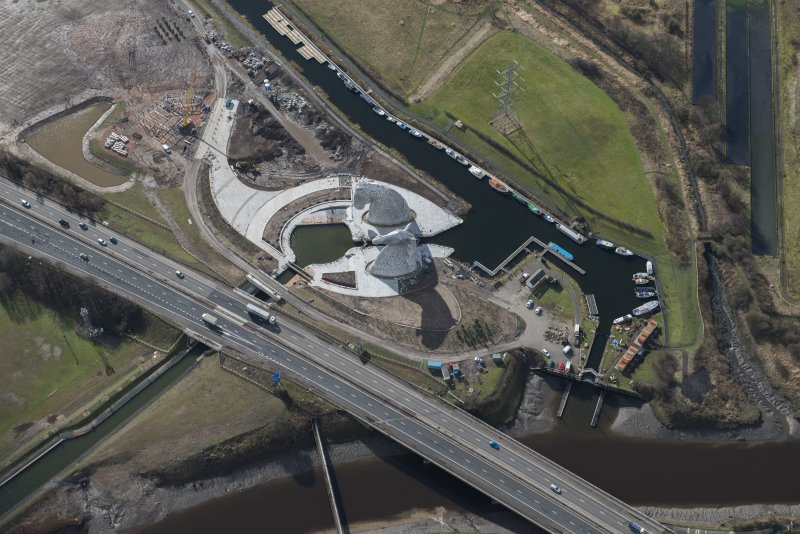 Oblique aerial view of the Kelpies, looking SSW.