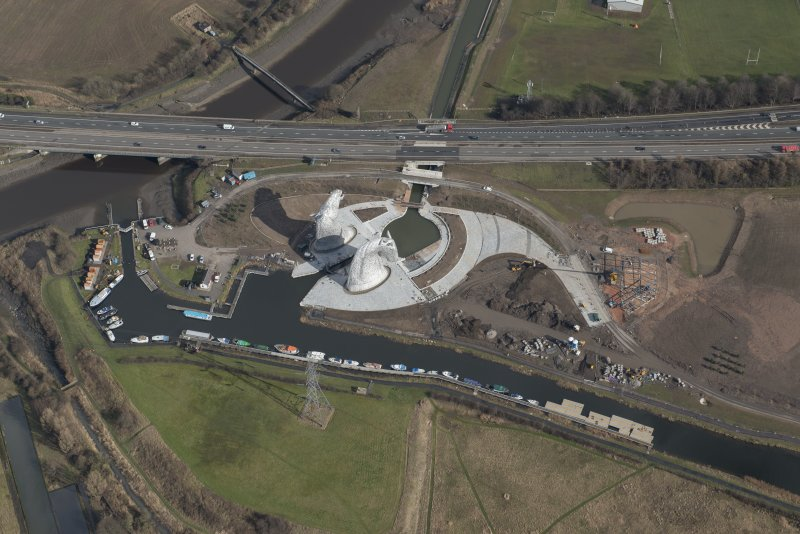 Oblique aerial view of the Kelpies, looking NE.