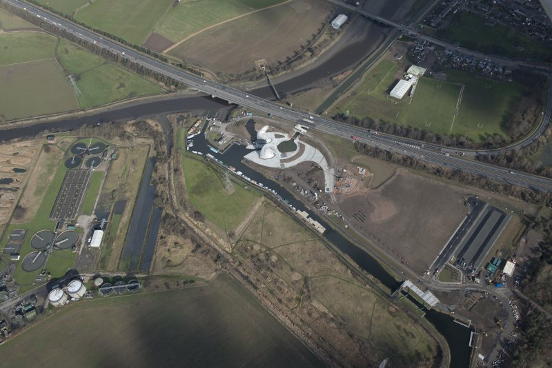Oblique aerial view of the Kelpies, looking NNE.
