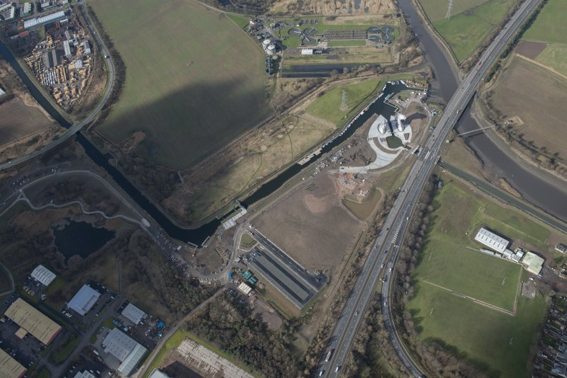 Oblique aerial view of the Kelpies, looking NW.
