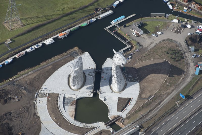 Oblique aerial view of the Kelpies, looking West.