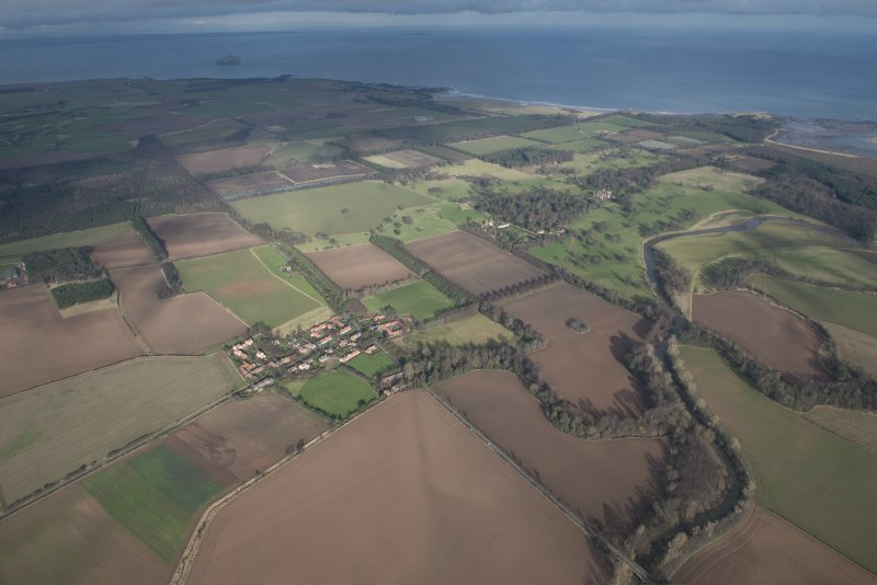 General oblique aerial view of Tyninghame, looking N.