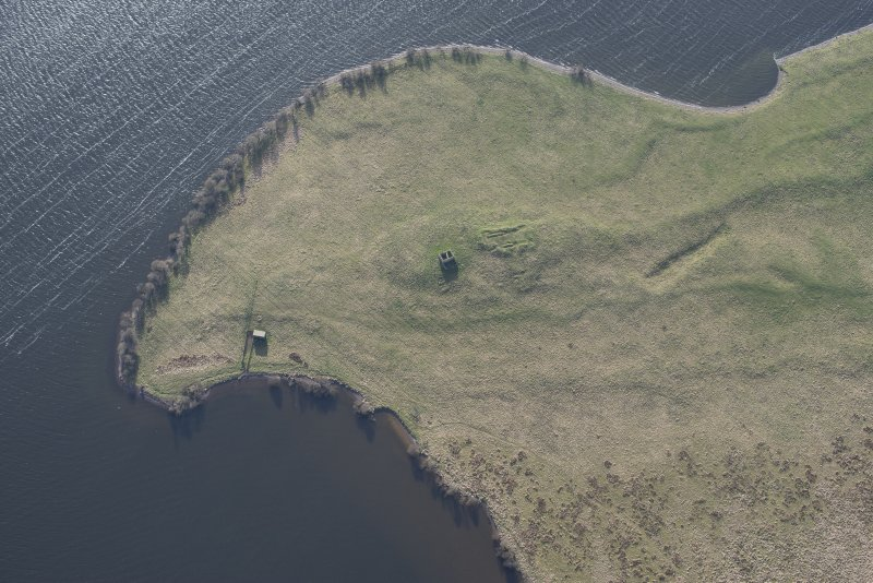 Oblique aerial view of St Serf's, Loch Leven, looking WSW.