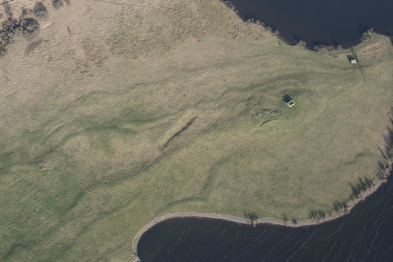 Oblique aerial view of St Serf's, Loch Leven, looking NE.