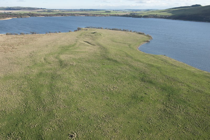 Oblique aerial view of St Serf's, Loch Leven, looking SE.
