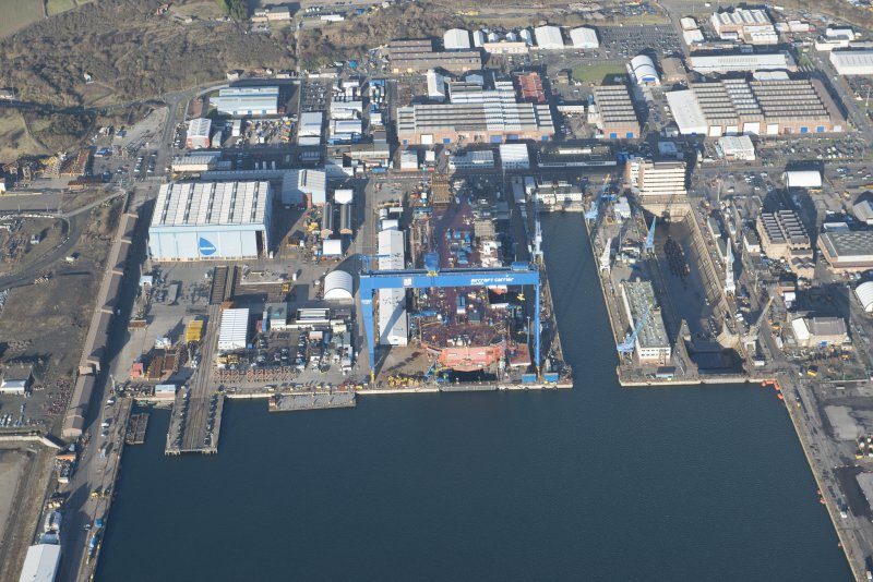Oblique aerial view of HM Dockyard Rosyth centred on the Goliath Crane, looking NE.