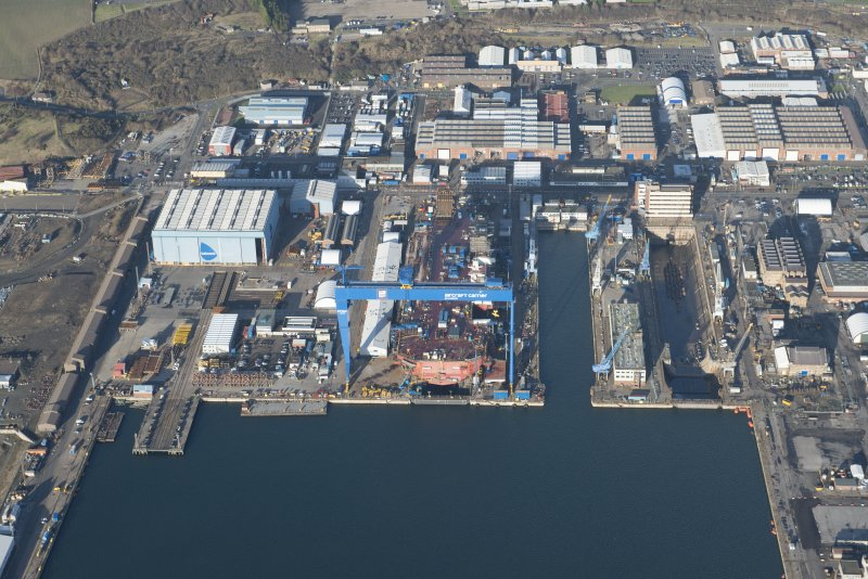 Oblique aerial view of HM Dockyard Rosyth centred on the Goliath Crane, looking NNE.