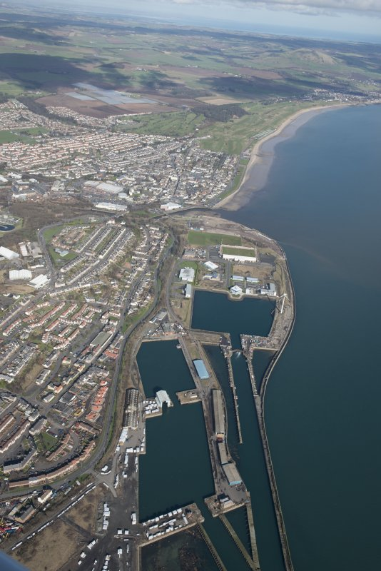 Oblique aerial view of Methil Docks, looking NNE.