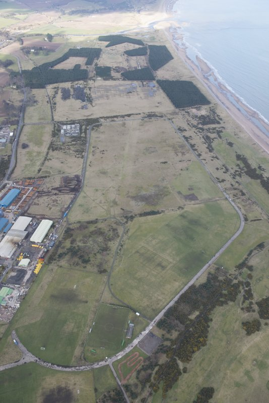 Oblique aerial view of Montrose Airfield, looking NNE.