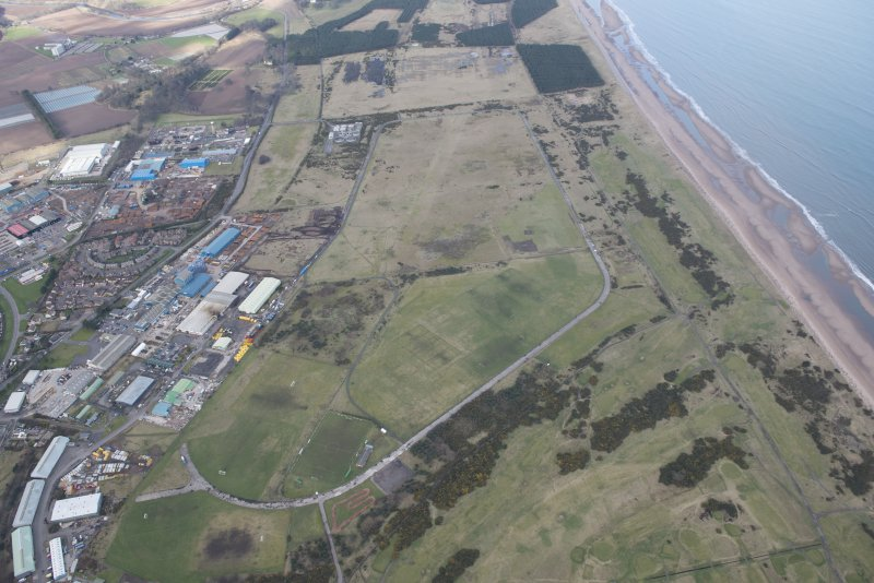 Oblique aerial view of Montrose Airfield, looking N.