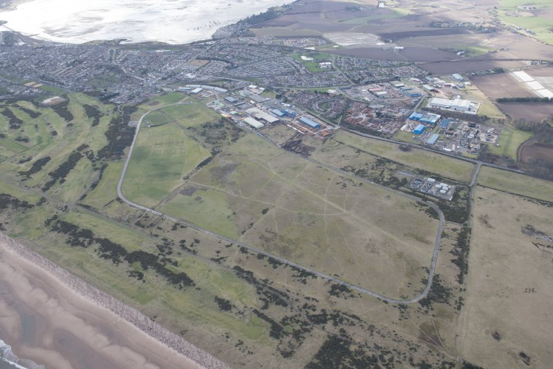 Oblique aerial view of Montrose Airfield, looking WNW.