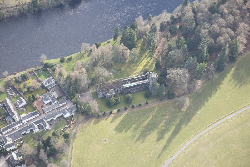 Oblique aerial view of Dunkeld Cathedral, looking S.
