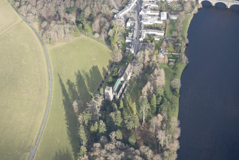 Oblique aerial view of Dunkeld Cathedral, looking ENE.