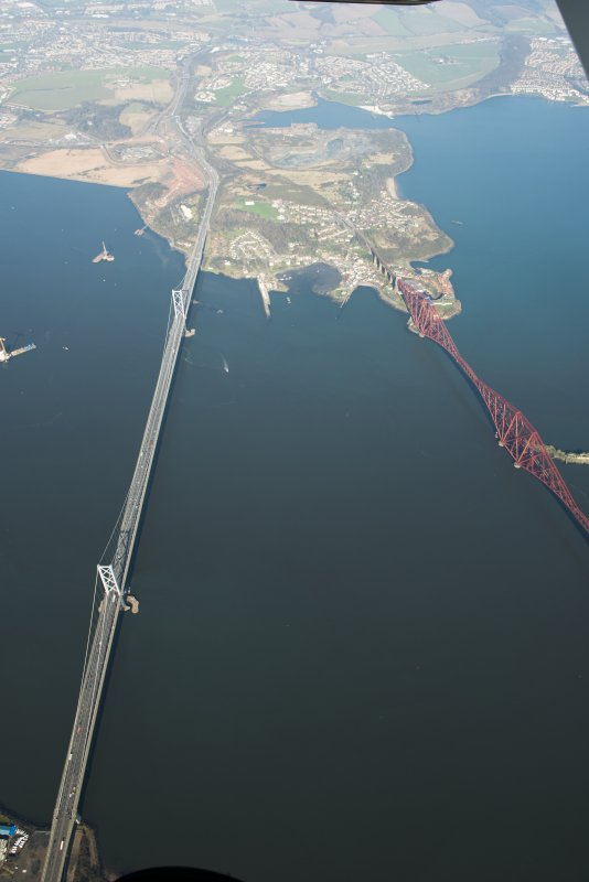Oblique aerial view of the Forth Road and Forth Road bridge, looking to the N.