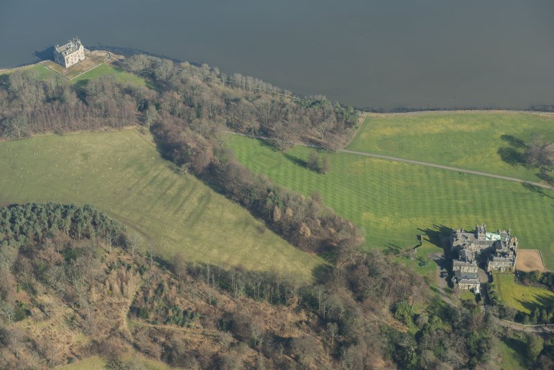 Oblique aerial view of Barnbougle Castle, looking to the ENE.