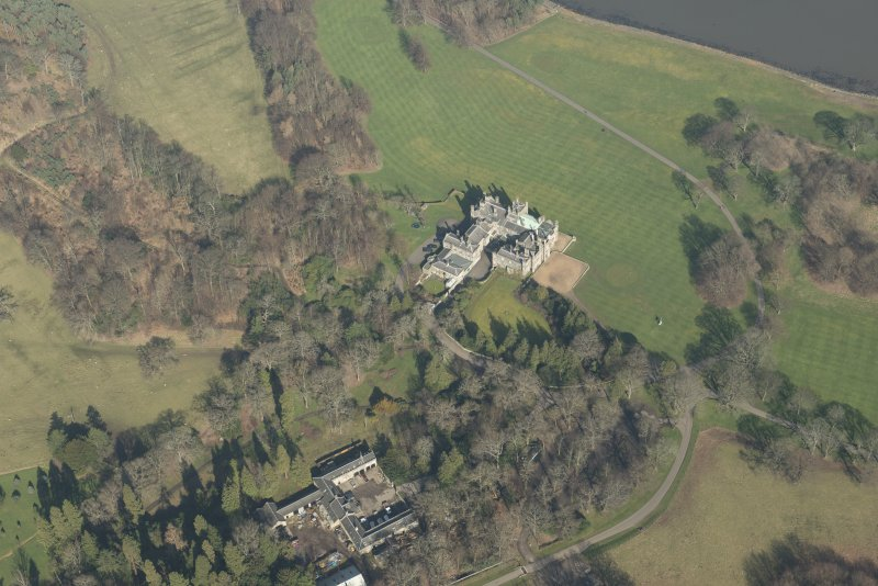 Oblique aerial view of Dalmeny House and walled garden, looking to the ENE.