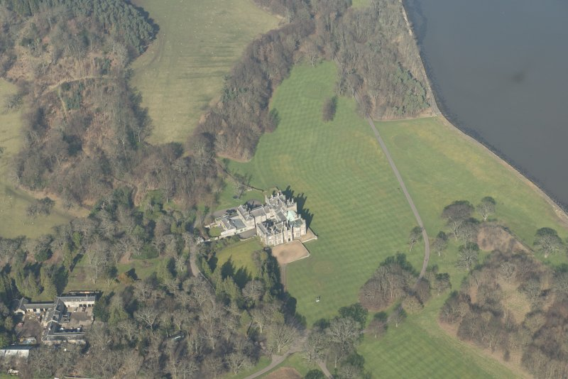 Oblique aerial view of Dalmeny House, looking to the N.
