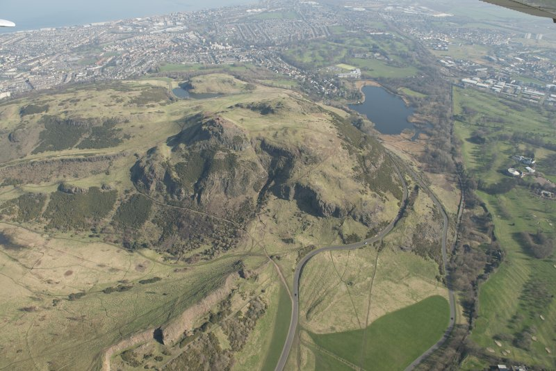 Oblique aerial view of Arthur's Seat and Holyrood Park, looking to the NE.