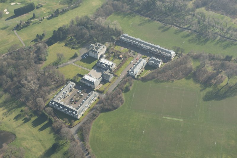 Oblique aerial view of Duddingston House Hotel, looking to the SE.