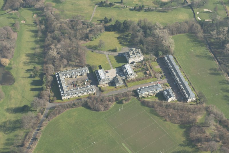 Oblique aerial view of Duddingston House Hotel, looking to the E.
